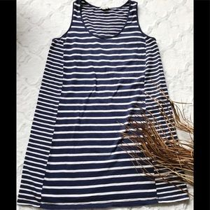 Boden navy & white stripe sleeveless cotton dress